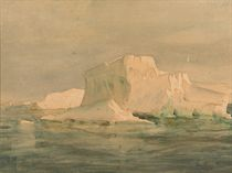 An iceberg with Adelie penguins (British Antarctic Expedition, 1907)