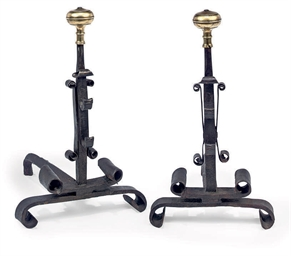 A PAIR OF FRENCH WROUGHT IRON