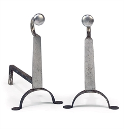 A PAIR OF POLISHED STEEL ANDIR