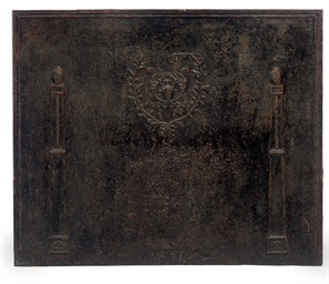 A FRENCH CAST IRON FIREBACK