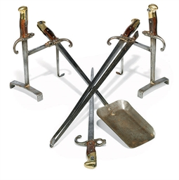 A GARNITURE OF FRENCH STEEL AN