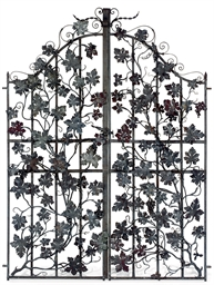 A PAIR OF WROUGHT IRON GARDEN