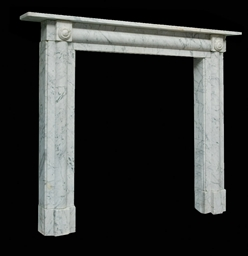A REGENCY WHITE MARBLE CHIMNEY