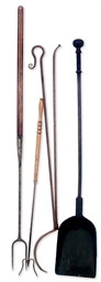 A PAIR OF WROUGHT IRON LOG TONGS