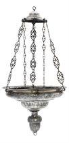A SPANISH SILVER CIRCULAR HANGING SANCTUARY LAMP
