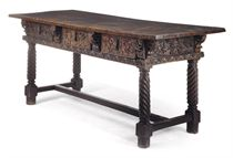 A SPANISH CHESTNUT AND WALNUT CENTRE TABLE