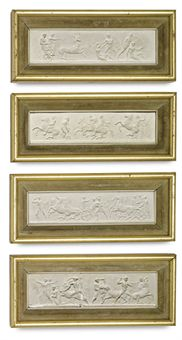 A SET OF FOUR PLASTER RELIEFS OF THE PARTHENON FRIEZE