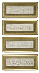 A SET OF FOUR PLASTER RELIEFS