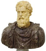AN ITALIAN COLOURED AND WHITE MARBLE BUST OF A ROMAN EMPEROR