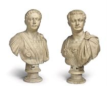 A PAIR OF ITALIAN CARVED MARBLE BUSTS OF EMPERORS