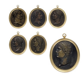 A SET OF SIX ITALIAN BRONZE OV