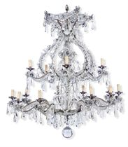 AN ITALIAN ROCK CRYSTAL, CUT-GLASS  AND SILVERED-TOLE FIFTEE