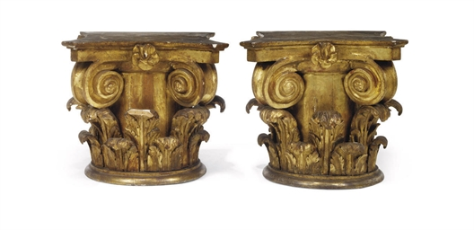A PAIR OF SPANISH GILTWOOD ION