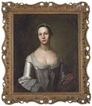 Portrait of Ann Woodforde (1734-1799), half-length, in a grey dress with lace and pearls, and a buff mantle, in a feined oval