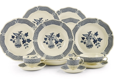 A WEDGWOOD POTTERY BLUE AND WH