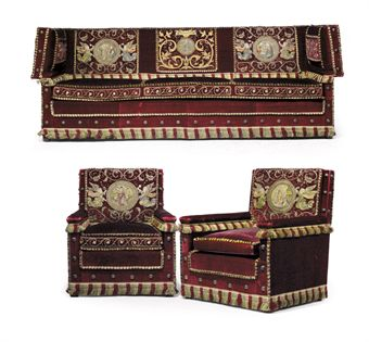 A PAIR OF RED SILK-VELVET AND APPLIQUE ARMCHAIRS AND A MATCHING SOFA
