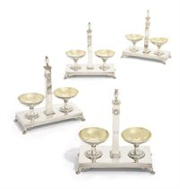 A SET OF FOUR FRENCH SILVER DOUBLE-SALT-CELLARS