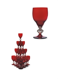 A MURANO GLASS RUBY-TINTED PAR