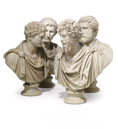 A SET OF FOUR RESIN BUSTS OF R