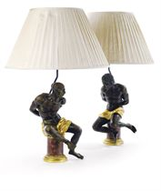 A PAIR OF FRENCH ORMOLU AND PATINATED-BRONZE FIGURAL GROUP LAMPS