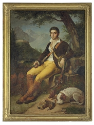 A huntsman seated with his dog