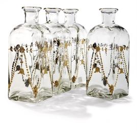 A SET OF FOUR GLASS SQUARE-SEC