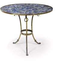 A FRENCH LACQUERED-BRASS AND LAPIS LAZULI GUERIDON