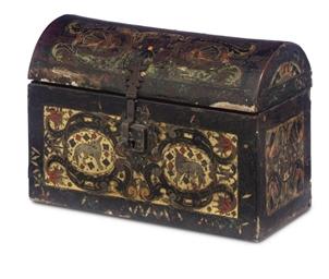 A SPANISH LACCA-POVERA CASKET