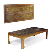 A GILT AND POLYCHROME LOW TABLE