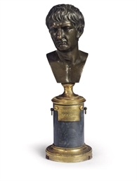 AN ITALIAN BRONZE BUST OF TIBE