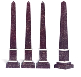 A SET OF FOUR PORPHYRY OBELISK