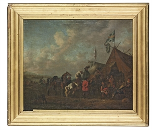 Cavalrymen at a sutler's tent,