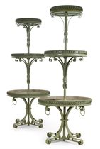 A PAIR OF GREEN-PAINTED BRASS THREE-TIER ETAGERES