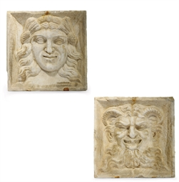 TWO SQUARE CARVED MARBLE RELIE