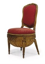 A LOUIS XVI GILTWOOD CHAISE A OUVRAGES