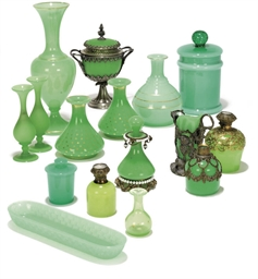 A COLLECTION OF OPAQUE GREEN G