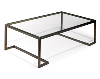 A CHROME LOW TABLE