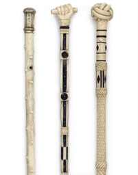A BONE AND IVORY WALKING STICK