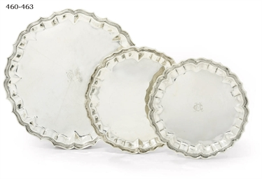 A PAIR OF SPANISH SALVERS AND