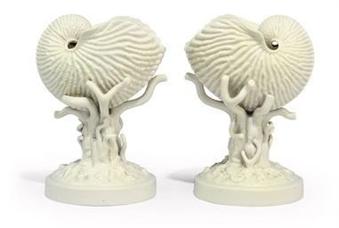 A PAIR OF BELLEEK PARIAN WARE