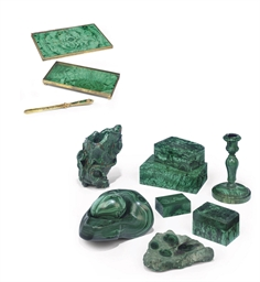 A COLLECTION OF MALACHITE ORNA