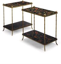 A PAIR OF LACQUERED-BRASS AND BLACK LACQUER TWO-TIER ETAGERES