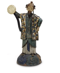 A LARGE CHINESE POLYCHROME-ENA
