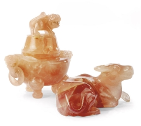 A CHINESE ROSE QUARTZ CENSER A