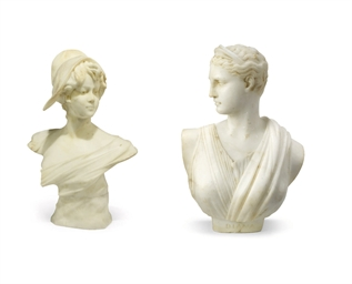 TWO WHITE MARBLE BUSTS