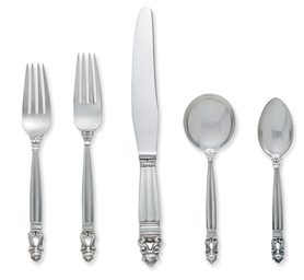 A DANISH SILVER FLATWARE SERVI