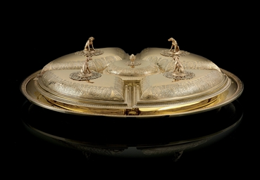 A FRENCH SILVER-GILT SUPPER SE