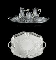 A FRENCH SILVER FIVE-PIECE TEA AND COFFEE SERVICE WITH TRAY