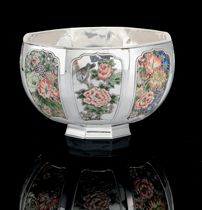 A JAPANESE SILVER AND ENAMEL BOWL