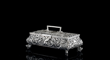 A CHINESE EXPORT SILVER CASKET